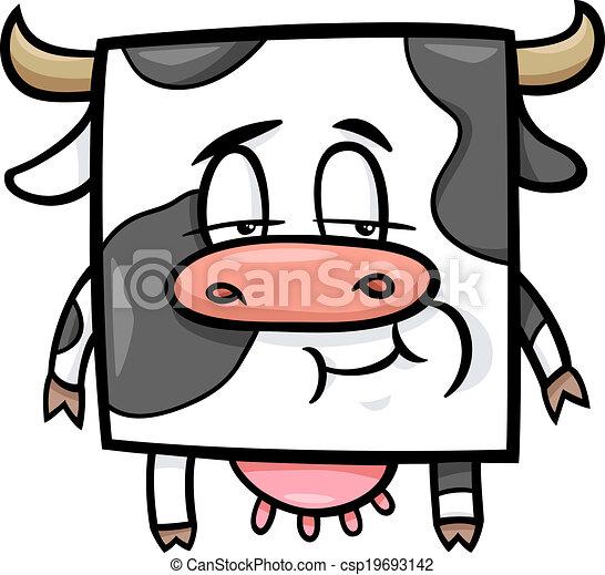Ilustración de dibujos de vacas cuadradas - csp19693142