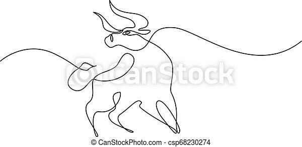 Un dibujo continuo de una línea. icono de vaca - csp68230274