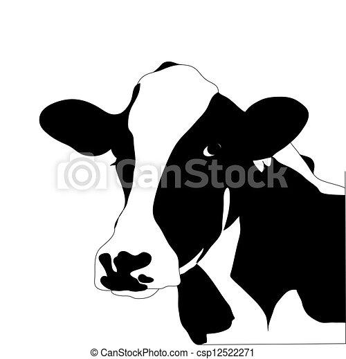 vaca, grande, vector, negro, retrato, blanco - csp12522271