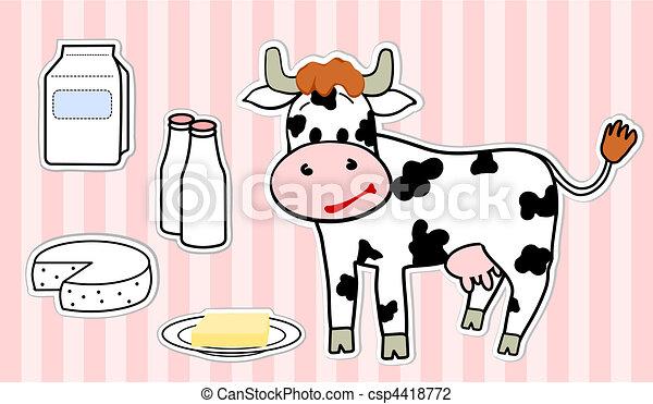 Ilustracin vectorial de vaca y productos lcteos csp4418772