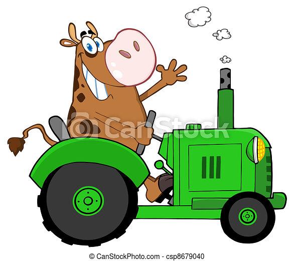 vaca marrom, feliz - csp8679040