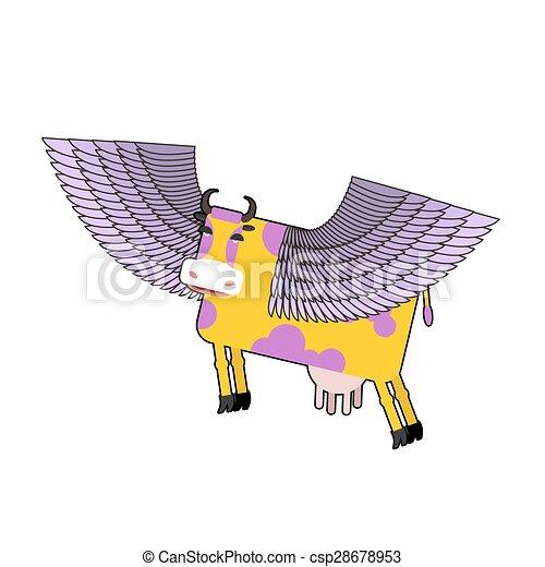 Vaca con alas púrpura. Animal volador. Ilustración de vectores. Un mamífero fantástico. - csp28678953