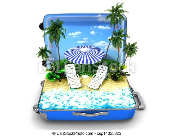 Un paquete de vacaciones en la playa - csp14025323