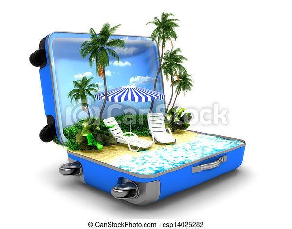 Un paquete de vacaciones en la playa - csp14025282