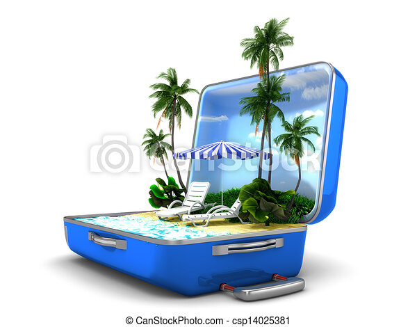 vacaciones de playa, paquete - csp14025381