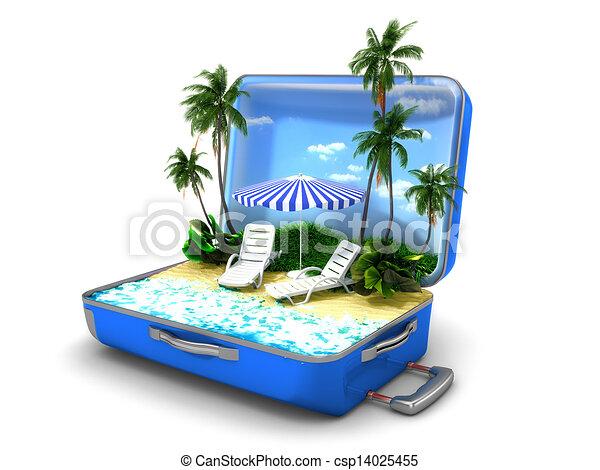 Un paquete de vacaciones en la playa - csp14025455