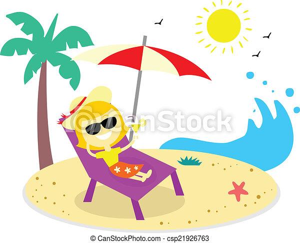 Vacaciones relajantes en la playa - csp21926763