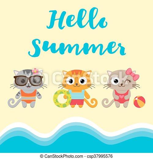 Tarjeta de verano con gatitos - csp37995576