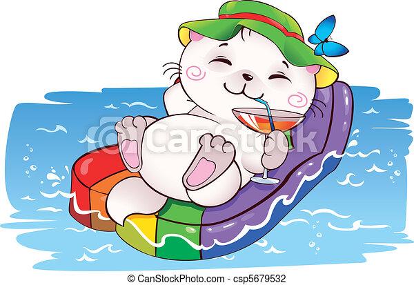 Gatito de vacaciones - csp5679532