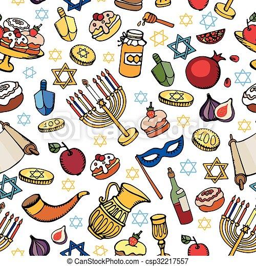 Vacaciones judías, pattern.doodle, hanukkah, seamless. Azul, feriado ...