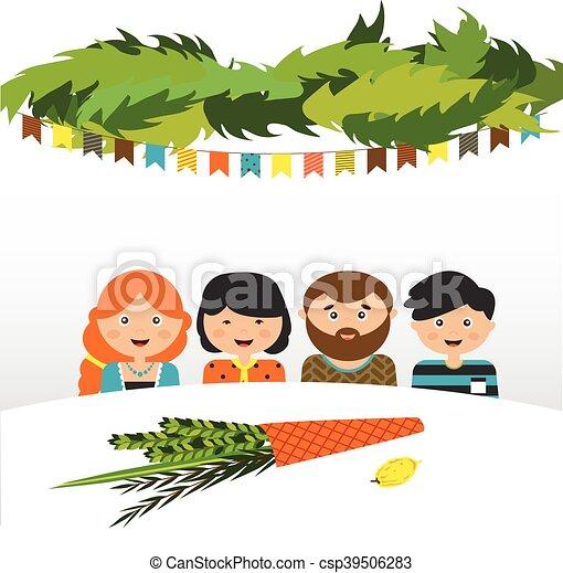 Familia en el sukkah. Fiesta judía Sukkot - csp39506283
