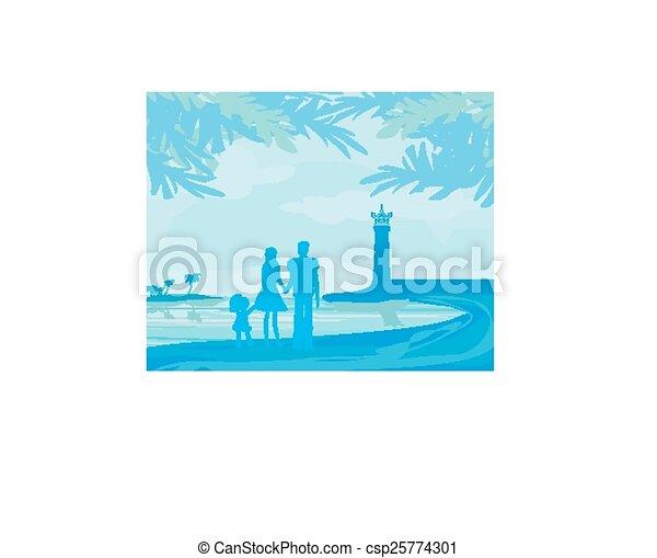 Familia en vacaciones tropicales - csp25774301