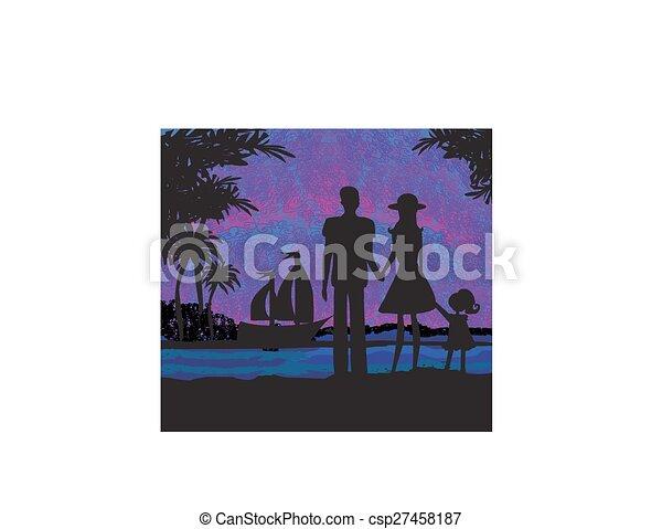Familia en vacaciones tropicales - csp27458187