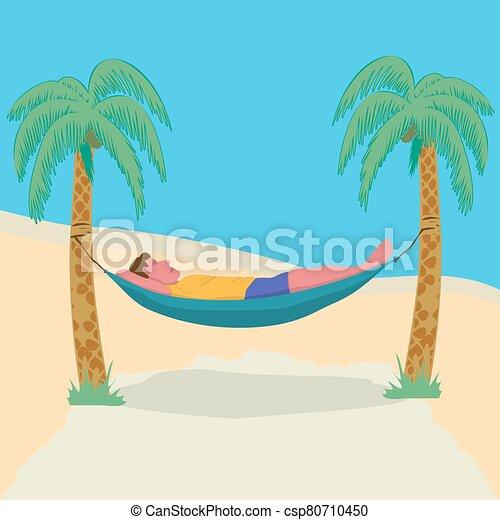 vacaciones, unido, perezoso, libertad, palma, resort., freelance., hamaca, hombre, downshifting, árboles., tropical, acostado - csp80710450