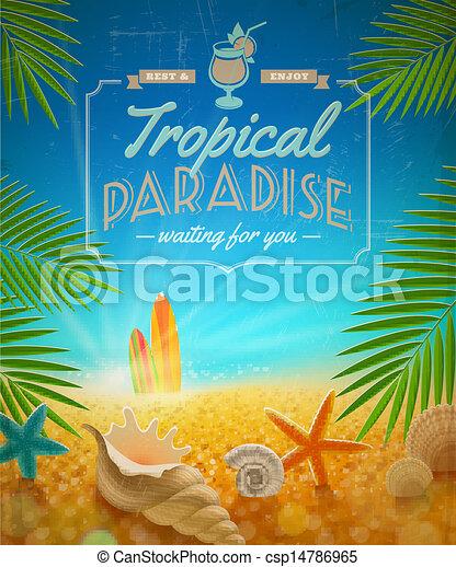 vacances été, fetes, vecteur, conception, voyage - csp14786965