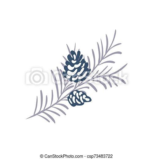 vacances hiver, text., année, concept, branche, vecteur, noël, cône, heureux, endroit, élément, ton, noël, main, design., nouveau, pin, dessiné - csp73483722