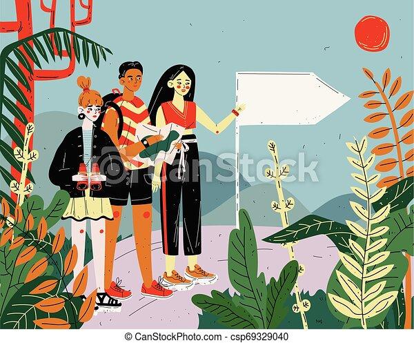 vacances, randonnée, voyage, adventure., voyager, trekking., fetes, amis, touristes - csp69329040