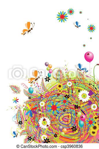 vacances, rigolote, ballons, carte, heureux - csp3960836