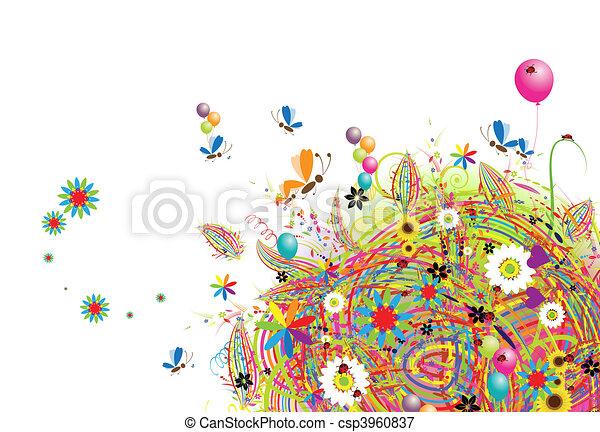 vacances, rigolote, ballons, carte, heureux - csp3960837