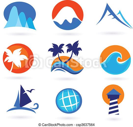 vacances, voyage vacances, icônes - csp3637564