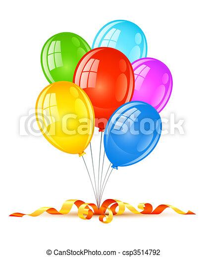 vacanza, compleanno, palloni, celebrazione, colorato - csp3514792