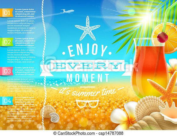 vacanza estate, vacanze, vettore, disegno, viaggiare - csp14787088
