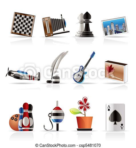 vacanza, hobby, ozio, icone - csp5481070