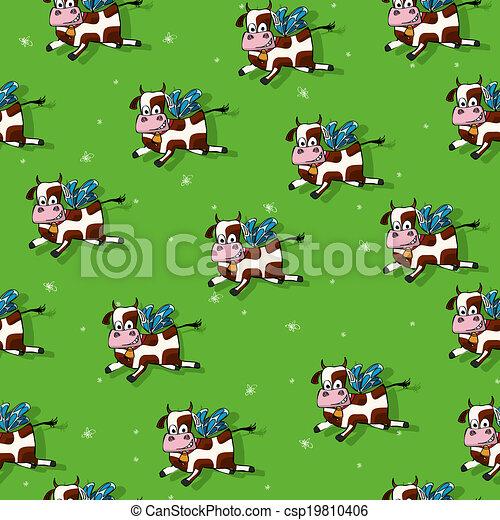 Patrón de vacas voladoras - csp19810406