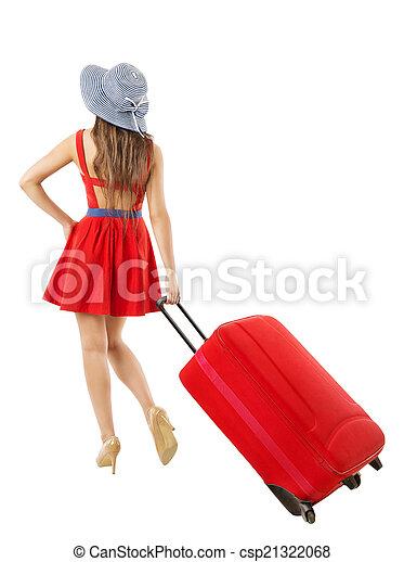 vacation., 女, travel., 引く, 夏, スーツケース, 休日, 赤 - csp21322068