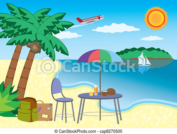 vacation at the seashore chair and table under palm with coconut rh canstockphoto com Seaweed Clip Art baby seahorse clipart
