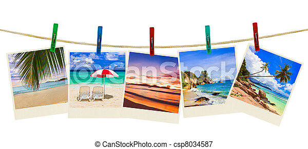 Vacation beach photography on clothespins - csp8034587