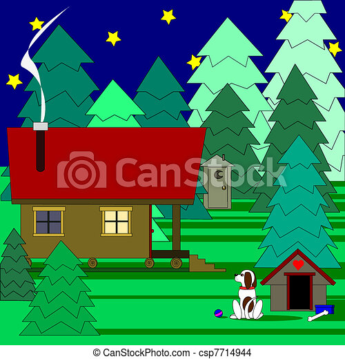 Vacation Cabin In The Woods Vector