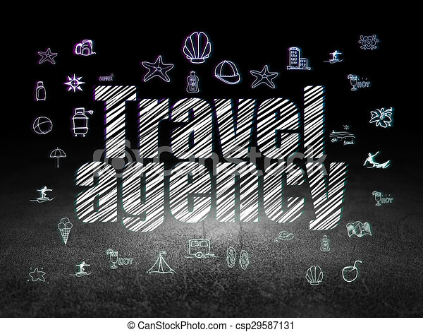Vacation Concept Travel Agency In Grunge Dark Room