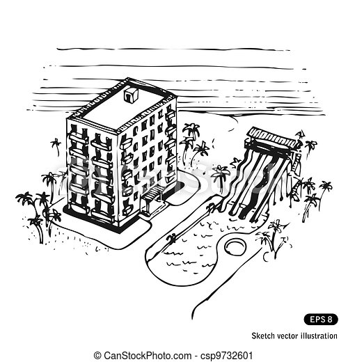 vacation hotel and swimming pool by the ocean hand drawn vector