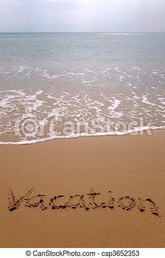 Vacation in sand vertical. - csp3652353