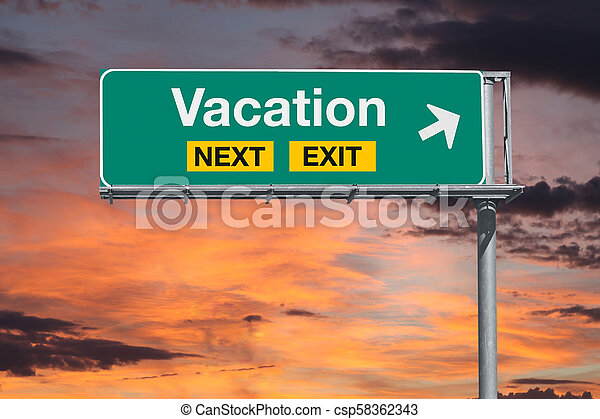Vacation Next Exit Freeway Sign with Sunset Sky - csp58362343