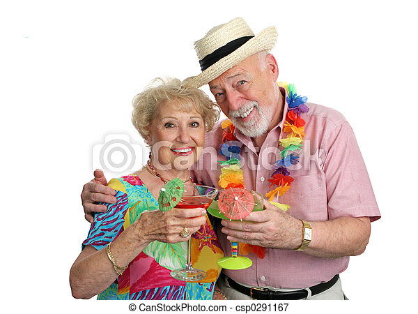 Vacation Seniors With Cocktails - csp0291167