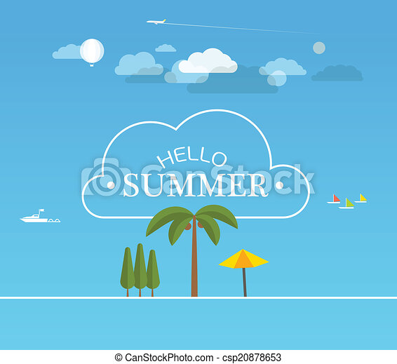 Vacation travelling concept. Flat design illustration - csp20878653