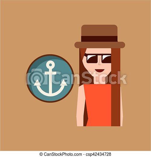 vacation woman anchor summer - csp42434728
