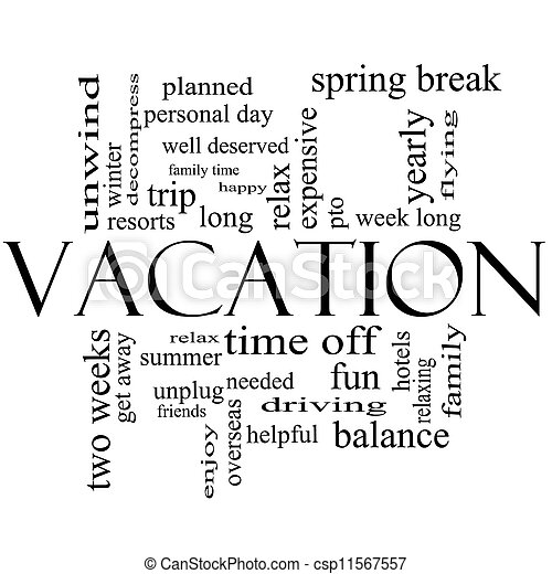 Vacation word cloud concept in black and white csp11567557
