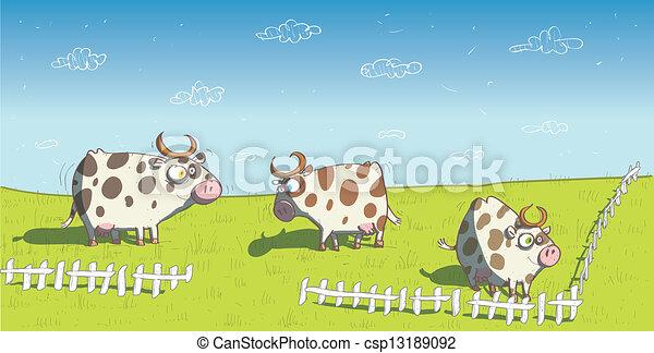 Vaches Prairie Heureux Eps10 Mode Illustration Vecteur