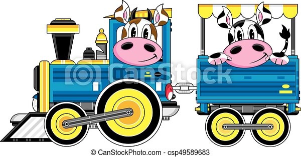 Vaches train dessin anim mignon vecteur illustration train vapeur nes dessin anim - Train dessin anime chuggington ...