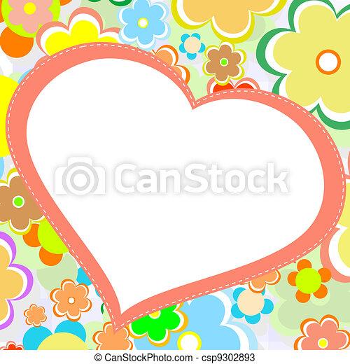 vacker, blomma, heart., lysande, vektor, kort - csp9302893