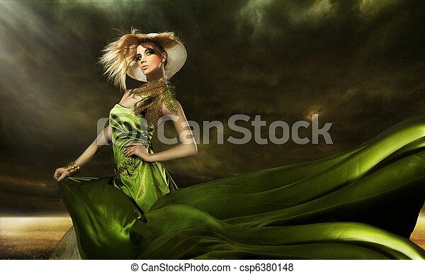 vacker, blondin, framställ, ung flicka - csp6380148