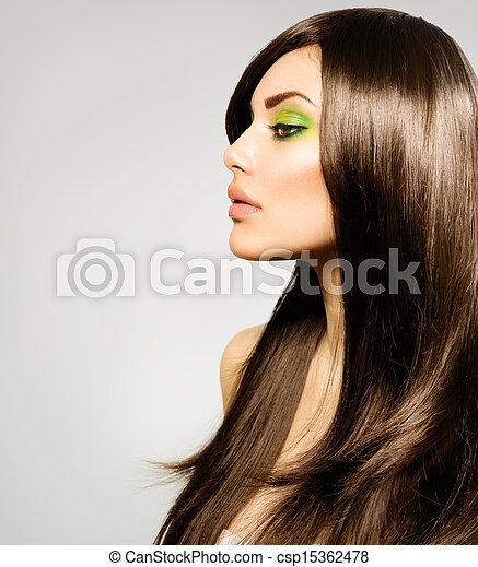 vacker, brun, brunett, hälsosam, långt hår, girl. - csp15362478