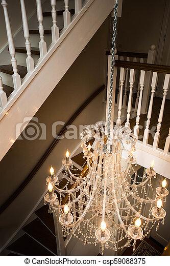 vacker, dekorativ, stil, trappa, kristall, viktorian, ljuskrona, räcke