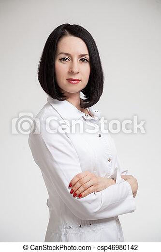 bra passform snabb leverans Perfekt kvalite Vacker, dräkt, kvinna läkare, påklädning, vit. Vacker, dräkt ...
