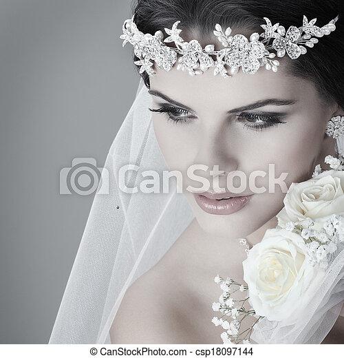 vacker, dress., dekoration, bride., bröllop porträtt - csp18097144