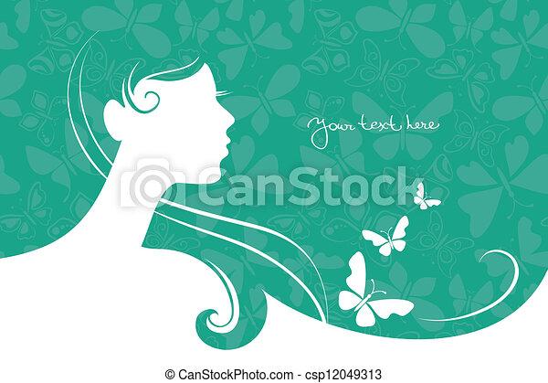 vacker, flicka, silhuett, bakgrund - csp12049313
