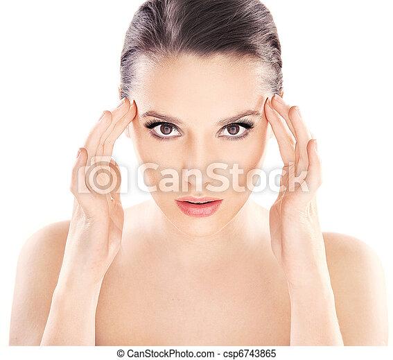 vacker, hälsosam, ung, ren, skinn, dam - csp6743865